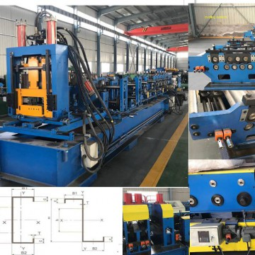 Purlins C and Z size from 80 to 300 fully automatic changing rolling machines