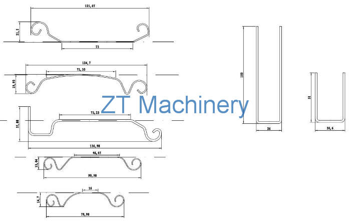 drawing profile of garage roller shutter door